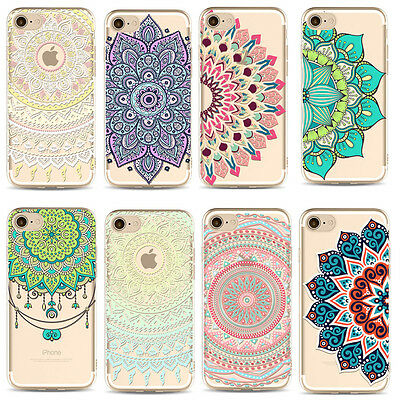 Mandala Pattern TPU Gel Silicona Carcasa Funda Case Cover For iPhone 5 SE 6 6s 7