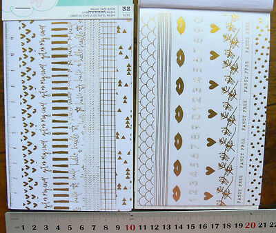 Gold Print on White Washi Tape Book 2x2 pages 16 Styles - Ea 13mmW x 1mmLong WT