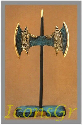 Ancient Greek Bronze Replica Minoan Crete Double Battle Axe Labrys Collectable