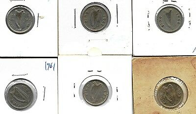 IRELAND LOT OF 6 x 3 PENCE COINS