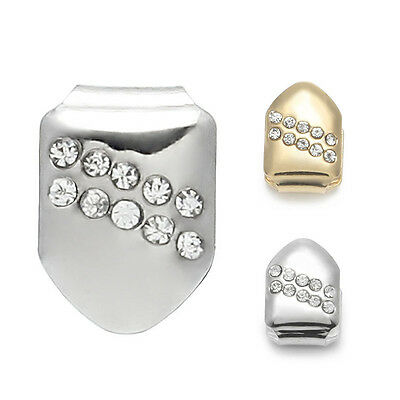 Gold/Silver 2pcs Hip Hop Bling Crystal Teeth Single Tooth Solid Grillz Grill Cap