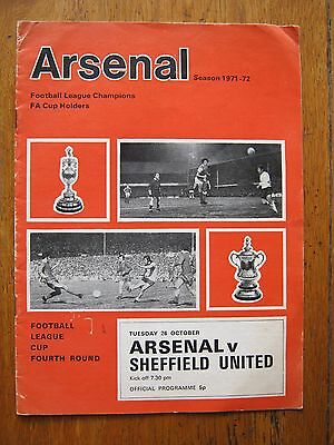 PROGRAMME ARSENAL v SHEFFIELD UNITED LEAGUE CUP4  26.10. 1971  MINT COND  FC