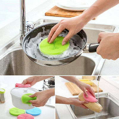 Silicone Dish Washing Sponge Scrubber Kitchen Cleaning antibacterial Tools AU