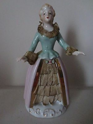 Vintage Victorian Lady Figurine Statue Porcelain with Fabric Dress Gold Trimming