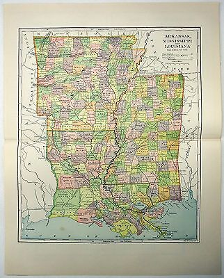 Original 1891 Map of Arkansas, Mississippi and Louisiana by Hunt & Eaton