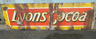 "Vintage ORIGINAL enameled LYONS COCOA advertising sign 60"" x 18"""