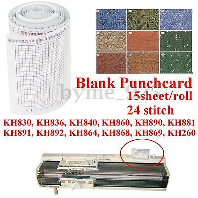 15 Sheets Blank Punchcard 5m 24 Stitch for Brother Knitting Machine KH830 KH836