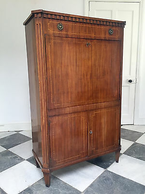 19thc Inlaid Mahogany Continental Secretaire Abattant