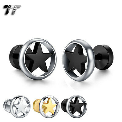 TT 10mm Round Stainless Steel Star Fake Ear Plug Earrings (BE220) NEW