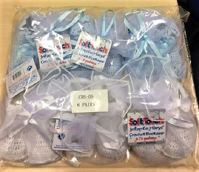 6 x Pairs White Blue Baby Crocheted Bootees In Organza Gift Bag 0-3m Wholesale