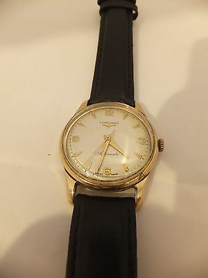 large heavy 9ct solid gold longines 19 jewel automatic gents wrist watch 1956