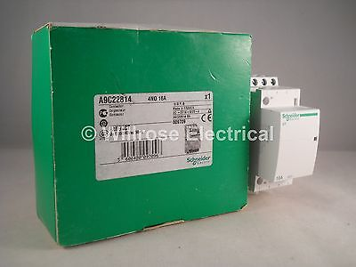Schneider Contactor 16 Amp 4 Pole 240VAC Coil N/O Acti 9 16A iCT A9C22814 NEW