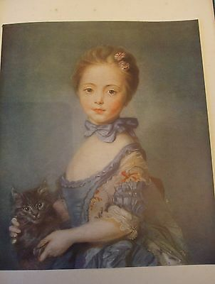 Antique Print C1930S The Girl With A Cat By Jean Baptiste Perronneau Vintage Art