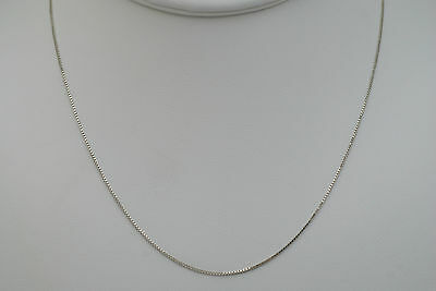 14K solid white gold 16 inches fine box link style chain