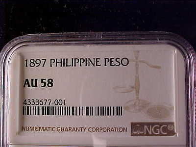 Philippines One Peso 1897 Alfonso Xiii Ngc Au 58 Toned
