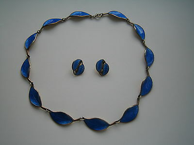 vintage rare david anderson 1950s silver & blue enamel necklace and earings set