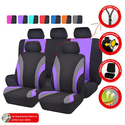 CAR PASS Universal Front Rear Car Seat Covers Seat Cushion Black Purple Airbag