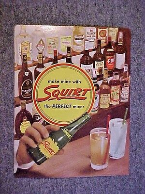 Vintage Squirt Soda - Cardboard Advertising Counter Sign Perfect Mixer 1950