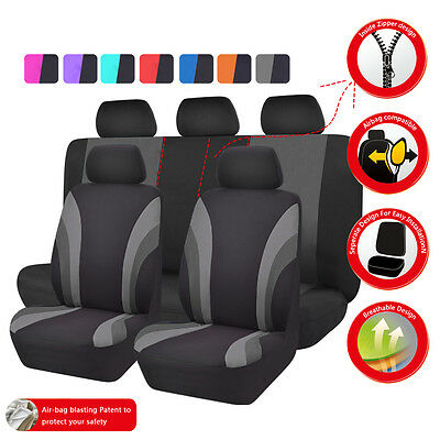 CAR PASS Universal Front Rear Car Seat Covers Seat Cushion Black Grey SUV Truck