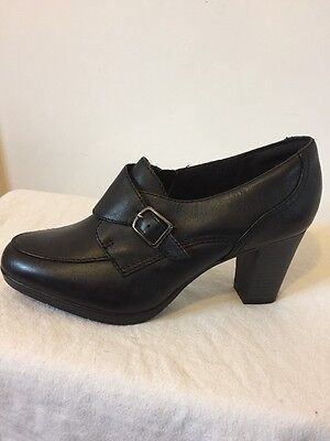 NEW LADIES CLARKS BRYNN POPPY BLACK LEATHER SHOES, BLACK, SIZE 6 Wide Fit