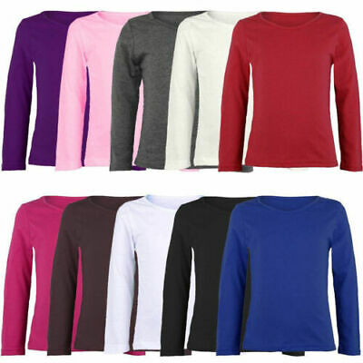 New Kids Plain Basic Top Long Sleeve Girls Boys Uniform T-Shirt Tops 2-13 Years
