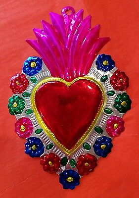 Flaming Heart with Flowers Authentic Mexican Tin Folk Art  Handcut & Painted