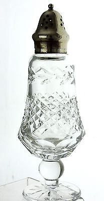 Vintage Irish Crystal Sugar Or Cheese Shaker Silver Plate Top Galway Signed