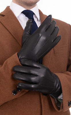 Ariston Mens Trim Lambskin Leather Driving Gloves With Cashmere Lining
