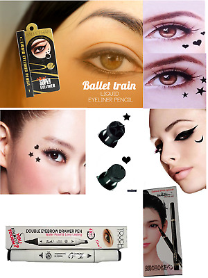 Black Waterproof Liquid Eyeliner Pen with Stamp Tattoo in 4 Shapes Make up Brand
