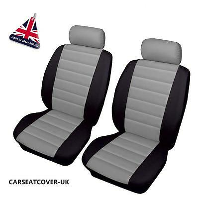 VW TRANSPORTER T5 - Front PAIR of Grey/Black LEATHER LOOK Car Seat Covers