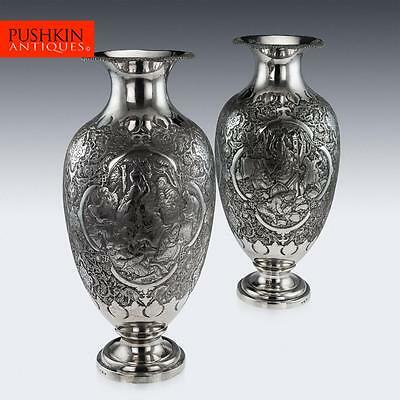 ANTIQUE 20thC PERSIAN SOLID SILVER MASSIVE PAIR OF VASES, ISFAHAN c.1920