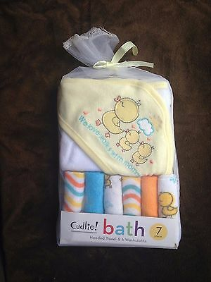 Baby Towels : Cudlie Unisex Yellow Duck Baby Washcloths & Towel Set 7 Piece