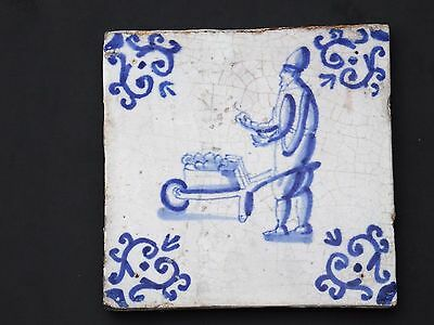 Delft Blue Tile Man selling vegetables 17th century