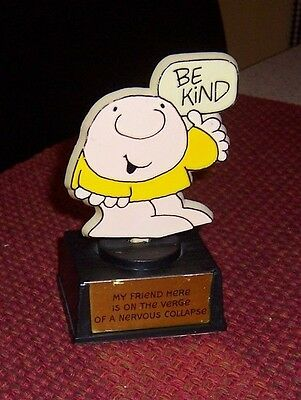 """Ziggy Statue/trophy """"be Kind""""my Friend On Verge Of Nervous Collapse 1980 Avia"""
