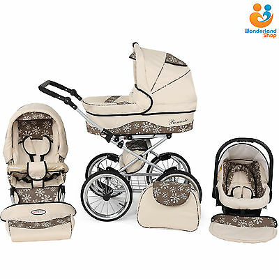 Retro Classic Baby Pram Stroller Pushchair Car Seat Carrycot Travel System 10col