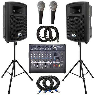 "Seismic Audio Power Mixer, Molded 15"" Speakers, Stands & Cable Package - Active"