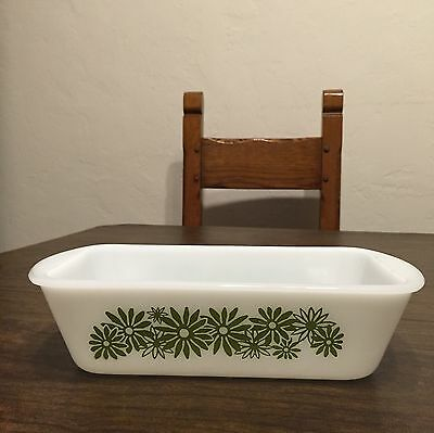 "Vnt Mint Cond GLASBAKE Milk Glass w GREEN ""DAISY DAYS"" Flowers LOAF Pan"