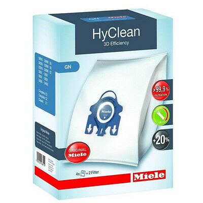 Genuine 4 x Bag Pack + 2 x Filters Miele GN HyClean 3D Vacuum Cleaner Dust Bags