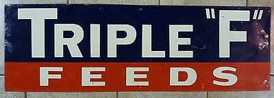 Old TRIPLE 'F' FEEDS Sign Corn States Des Moines old metal farm feed seed advert