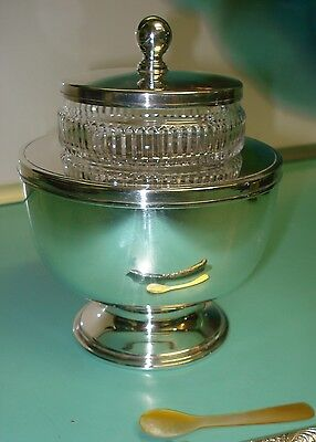Crystal glass & silver plate Caviar on ice bowl Barker Ellis England +MOP spoon