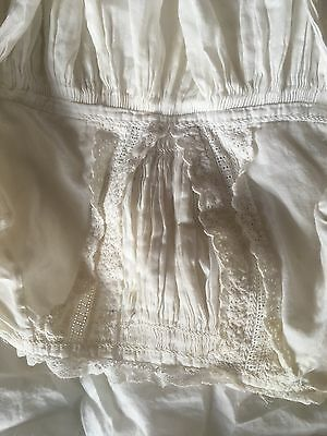 Antique Early 20th Century White Cotton Dress For Baby Ore Doll 80cm Long