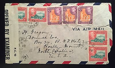 ST VINCENT 1943. Censored air mail cover to USA