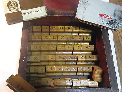 "Vintage  Rubber Stamp Lettering & Numbers Kit Wooden Box 1"" Special Characters"
