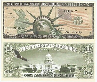 Statue Of Liberty (2011) United States 1 Million Dollars Unc Novelty Banknote