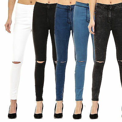 Womens High Waisted Ripped Knee Skinny Jeggings Ladies Jeans 6-8-10-12-14-16-18