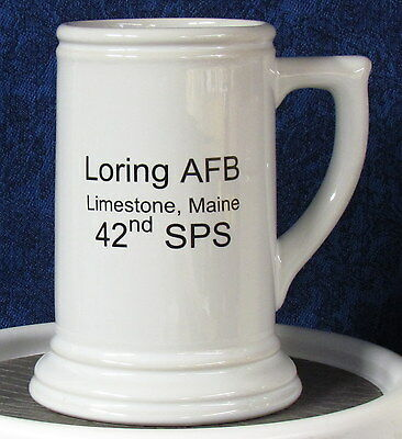 Loring AFB 42nd SPS & SP Shield on a 28 oz Beer Stein