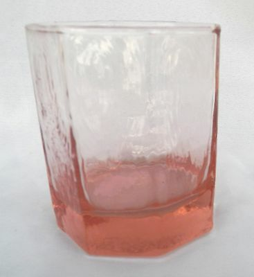 Vintage Libbey Glass Facets Pink Old Fashioned Juice Glasses