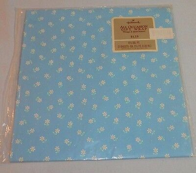 HALLMARK Wrapping Paper GIFT WRAP Blue WHITE DAISY All Occasion NOS Floral Print