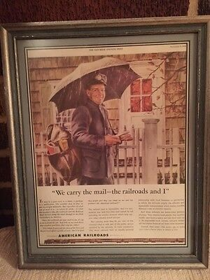 U S Mail old 1946 ad American Railroads letter carrier post office postal framed