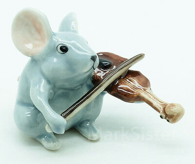 Figurine Animal Ceramic Rat Mouse Mice Playing Violin Musical - FG091-3